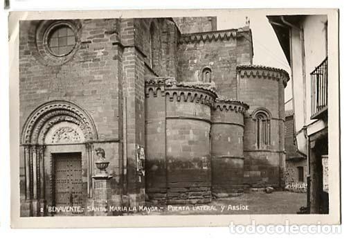 ZAMORA BENAVENTE SANTA MARIA LA MAYOR PUERTA LATERAL Y ABSIDE. POSTAL FOTOGRÁFICA. CIRCULADA (Postales - España - Castilla y León Antigua (hasta 1939))