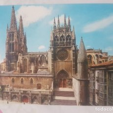 Postales: POSTAL DE BURGOS. CATEDRAL. FACHADA SUR. CIRCULADA, EN EL AÑO 1966.. Lote 139864718