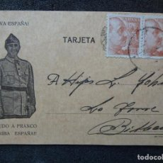 Postales: (JX-181236)TARJETA POSTAL PATRIÓTICA , LA FERRETERÍA MIRANDESA , MIRANDA DE EBRO , 1940 .. Lote 143069306