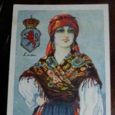 Postales: ANTIGUO CROMO CON EL TRAJE TIPICO DE LEON, CHOCOLATE AMATLLER, MIDE 10,7 X 7,5 CMS.. Lote 144096442
