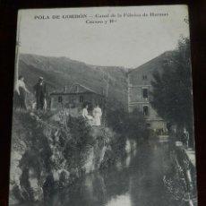 Postales: POSTAL DE POLA DE GORDON. LEÓN.CANAL DE LA FABRICA DE HARINAS DE LOS SRES. CRESPO Y HNOS. NO CIRCULA. Lote 151635274