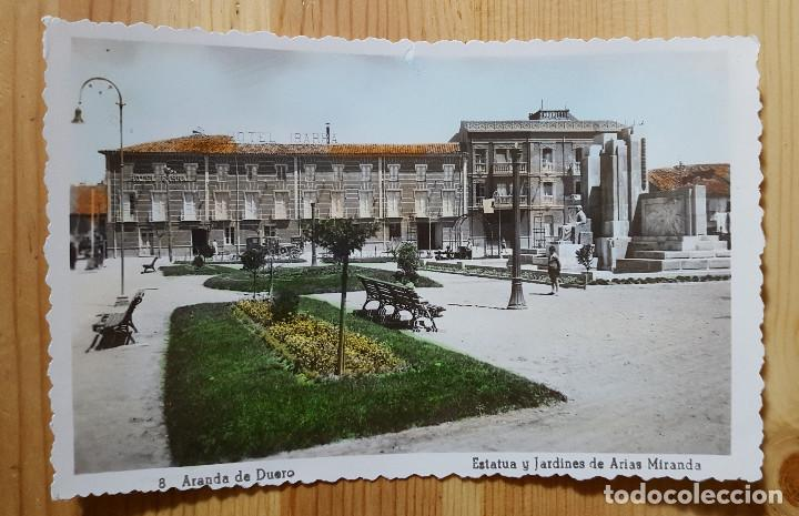 ARANDA DE DUERO ESTATUA Y JARDINES DE ARIAS MIRANDA COLOREADA HOTEL IBARRA ED. ARRIBAS Nº 8 (Postales - España - Castilla y León Moderna (desde 1940))