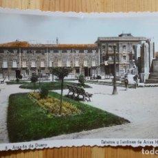 Postales: ARANDA DE DUERO ESTATUA Y JARDINES DE ARIAS MIRANDA COLOREADA HOTEL IBARRA ED. ARRIBAS Nº 8. Lote 153162046