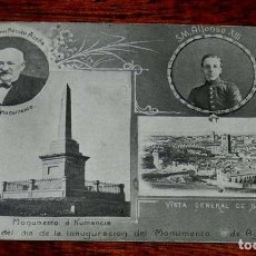 Postales: POSTAL DE SORIA. RECUERDO DEL DIA DE LA INAUGURACION DEL MONUMENTO A NUMANCIA AGOSTO DE 1905, EXCMO.. Lote 153710394