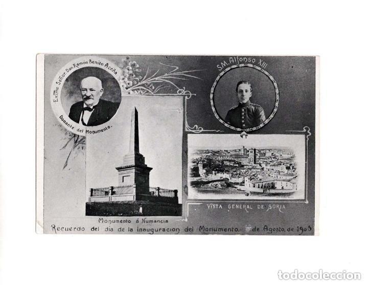 SORIA.- RECUERDO DEL DÍA DE LA INAUGURACIÓN DEL MONUMENTO A NUMANCIA. 1905. VISTA GENERAL (Postales - España - Castilla y León Antigua (hasta 1939))