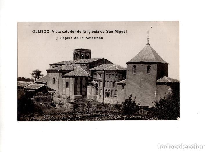 OLMEDO.(VALLADOLID).- VISTA EXTERIOR IGLESIA SAN MIGUEL Y CAPILLA SOTERRAÑA. POSTAL FOTOGRÁFICA (Postales - España - Castilla y León Antigua (hasta 1939))