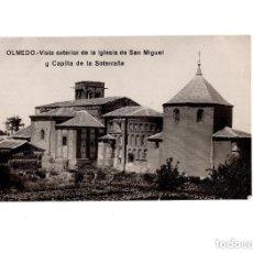Postales: OLMEDO.(VALLADOLID).- VISTA EXTERIOR IGLESIA SAN MIGUEL Y CAPILLA SOTERRAÑA. POSTAL FOTOGRÁFICA. Lote 154988066