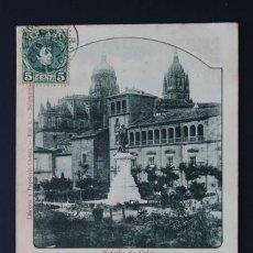 Postales: POSTAL RECUERDO DE SALAMANCA ESTATUA DE COLON . LIBRERIA Y PAPELERIA CUESTA CA AÑO 1900. Lote 156624718