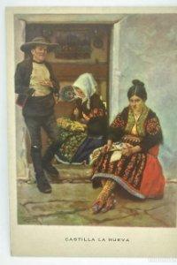 Castilla la nueva. Familia Lagarterana. Las regiones Españolas. Nº 6 R. López Cabrera 15,7x11,1cm