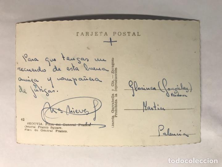 Postales: SEGOVIA. Postal No.42, Plaza del General Franco. Edita: Garcia Garrabella (h.1950?) ESCRITA.. - Foto 2 - 165138520