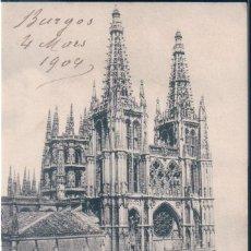 Postales: POSTAL BURGOS - CATEDRAL - VISTA GENERAL - CIRCULADA SELLO ALFONSO XIII - SIN DIVIDIR. Lote 169644192