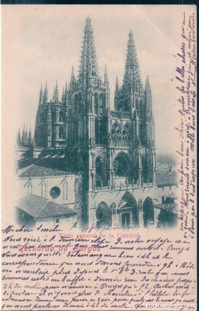 POSTAL RECUERDO DE BURGOS - VISTA GENERAL DE LA CATEDRAL - CIRCULADA SELLO ALFONSO XII - SIN DIVIDI (Postales - España - Castilla y León Antigua (hasta 1939))