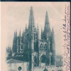 Postales: POSTAL RECUERDO DE BURGOS - VISTA GENERAL DE LA CATEDRAL - CIRCULADA SELLO ALFONSO XII - SIN DIVIDI. Lote 170170668
