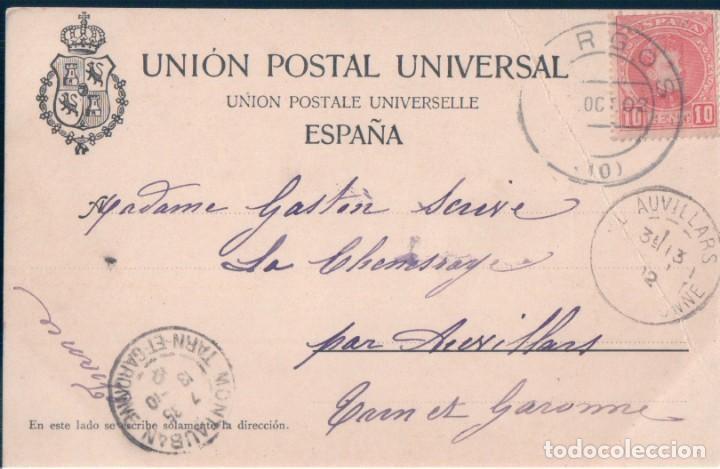 Postales: POSTAL RECUERDO DE BURGOS - VISTA GENERAL DE LA CATEDRAL - CIRCULADA SELLO ALFONSO XII - SIN DIVIDI - Foto 2 - 170170668