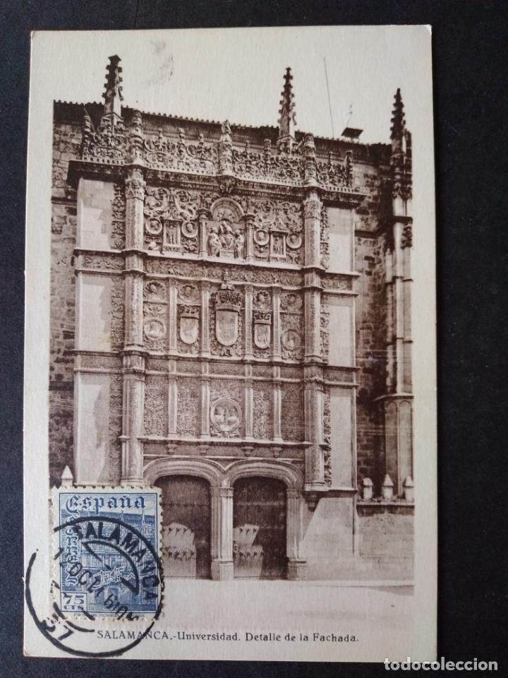 SALAMANCA UNIVERSIDAD DETALLE DE LA FACHADA POSTAL MAXIMA (Postales - España - Castilla y León Antigua (hasta 1939))
