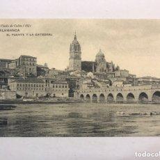 Postais: SALAMANCA. POSTAL NO.5, EL PUENTE Y LA CATEDRAL. (H.1930?) EDITA: FOTOTIPIA DE HAUSER Y MENET. Lote 172319284