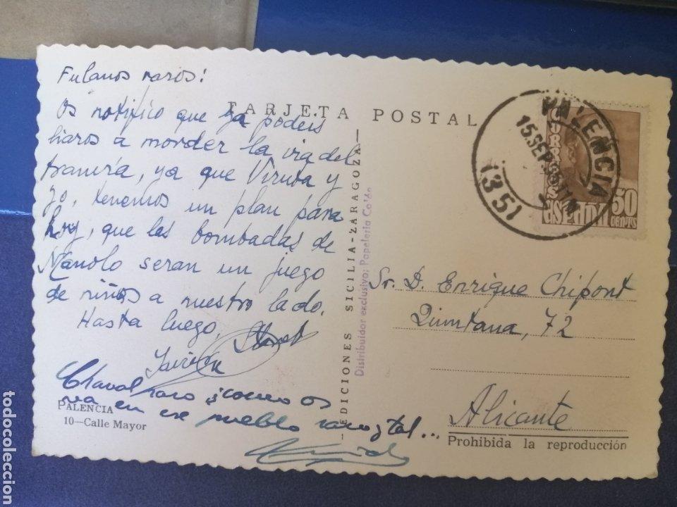 Postales: Palencia calle Mayor años 40 postal circulada - Foto 2 - 175311109
