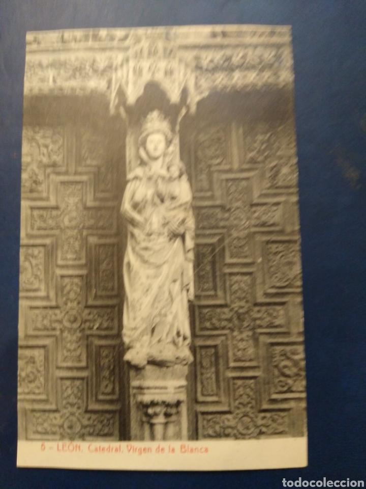 5 LEÓN CATEDRAL. VIRGEN DE LA BLANCA. THOMAS 2835 (Postales - España - Castilla y León Antigua (hasta 1939))