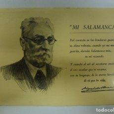 Cartes Postales: POSTAL. RETRATO Y POEMA DE UNAMUNO. MI SALAMANCA. ED. CALON. NO ESCRITA. . Lote 181552500