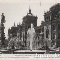 Postales: POSTAL DE VALLADOLID. ACADEMIA DE CABALLERIA Y ESTATUA DE ZORRILLA P-CASTLE-1267. Lote 183896485