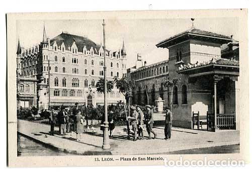 LEON PLAZA DE SAN MARCELO. FOTO WINOCIO. HAE. SIN CIRCULAR (Postales - España - Castilla y León Antigua (hasta 1939))
