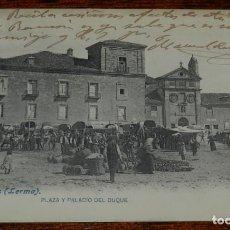 Postales: POSTAL DE LERMA (BURGOS), PLAZA Y PALACIO DEL DUQUE, ED.LACOSTE, NO CIRCULADA, ESCRITA EN 1910.. Lote 192855947