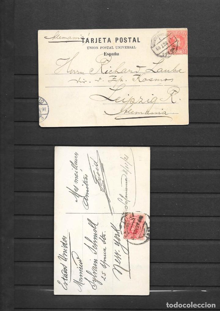 Postales: SALAMANCA DOS POSTALES INTERESANTES CIRCULADAS EN 1903 Y 1921 - Foto 2 - 194095263