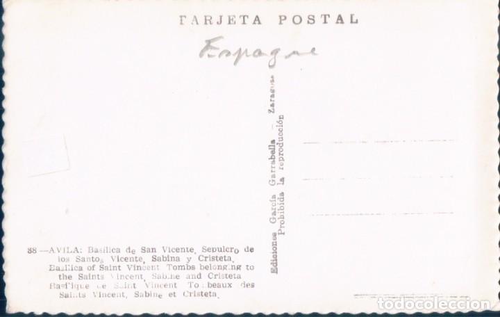 Postales: POSTAL AVILA - BASILICA DE SAN VICENTE - SEPULCRO DE LOS SANTOS VICENTE, SABINA Y CRISTETA - Foto 2 - 194276120