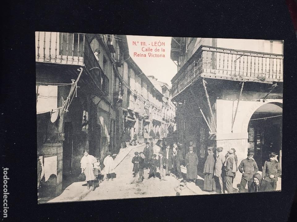 POSTAL LEON N 111 CALLE REINA VICTORIA THOMAS NO INSCRITA NO CIRCULADA (Postales - España - Castilla y León Antigua (hasta 1939))