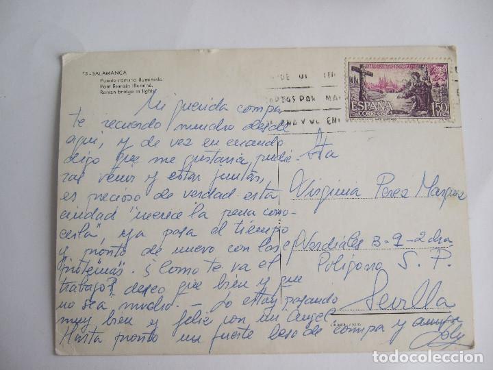 Postales: POSTAL SALAMANCA - PUENTE ROMANO ILUMINADO - 1966- MANIPEL 13 - CIRCULADA - Foto 2 - 195028910