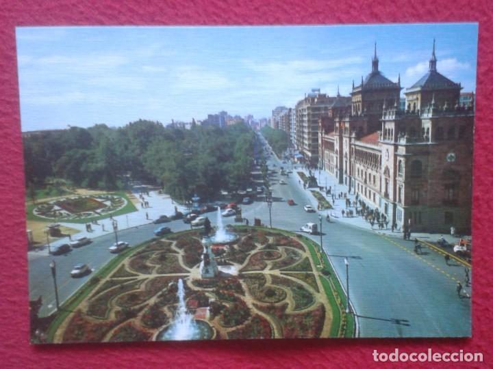 POSTAL POST CARD VALLADOLID ACADEMIA DE CABALLERÍA Y PASEO ZORRILLA EDICIONES ARRIBAS...COCHES ÉPOCA (Postales - España - Castilla y León Moderna (desde 1940))