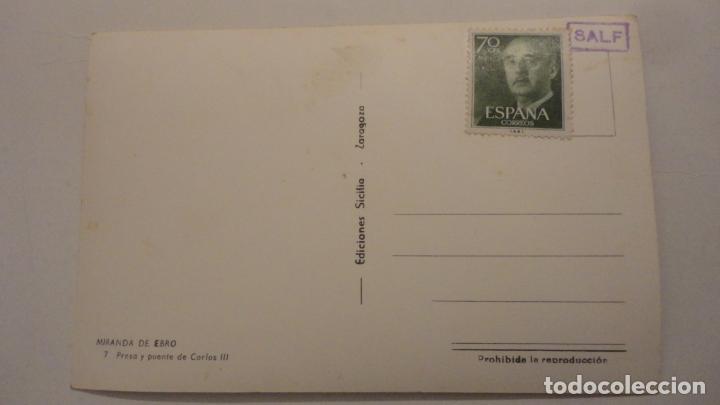 Postales: ANTIGUA POSTAL.PRESA Y PUENTE.MIRANDA DE EBRO SICILIA Nº 7 - Foto 3 - 195176641