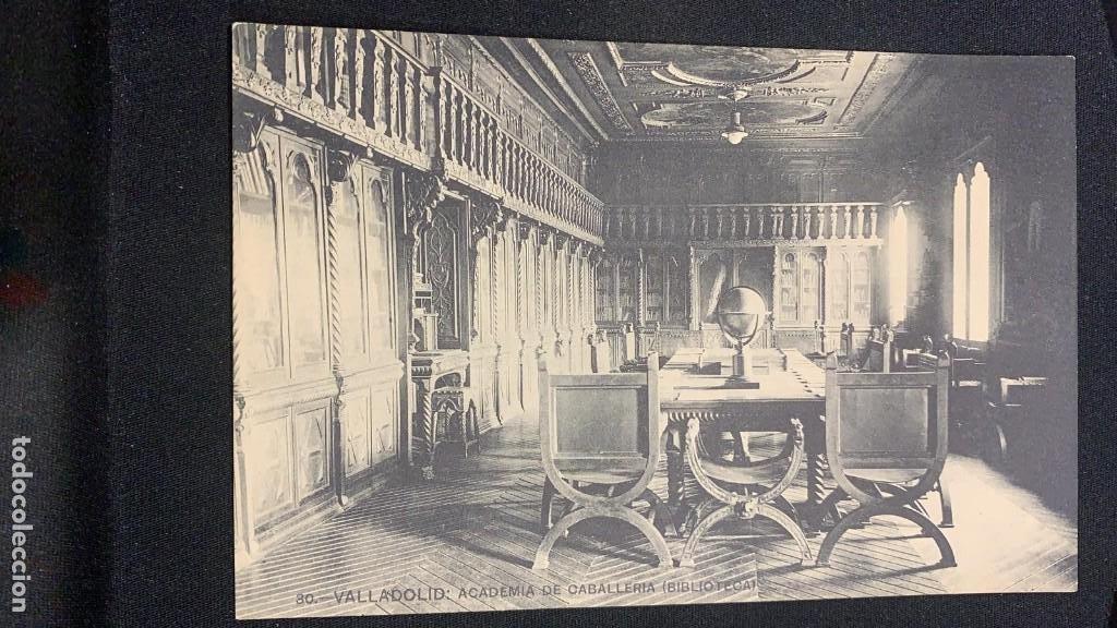 ANTIGUA POSTAL VALLADOLID ACADEMIA DE CABALLERÍA BIBLIOTECA FOTÓGRAFO LJ S XX (Postales - España - Castilla y León Antigua (hasta 1939))