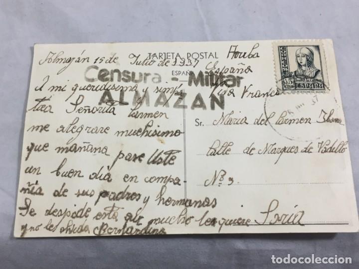 POSTAL DE ALMAZÁN SORIA 1937 GUERRA CIVIL CON CENSURA MILITAR, CIRCULADA. (Postales - España - Castilla y León Antigua (hasta 1939))