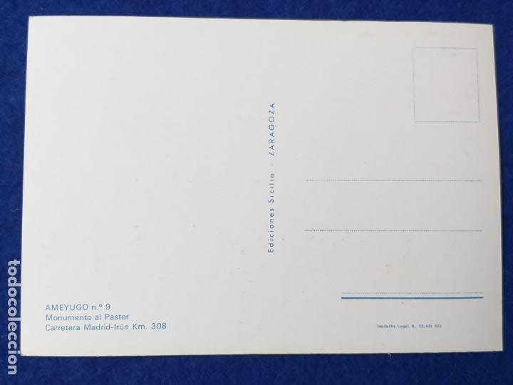 Postales: POSTAL DE BURGOS. AMEYUGO. MONUMENTO AL PASTOR. ED. SICILIA Nº 9. AÑO 1968. SIN CIRCULAR - Foto 2 - 204324503