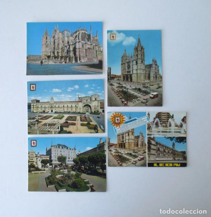 CINCO POSTALES DE LEON - EDICIONES SUBIRATS CASANOVAS (Postales - España - Castilla y León Moderna (desde 1940))