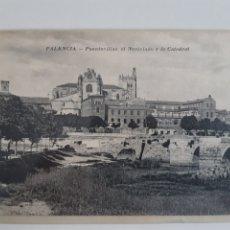 Postales: POSTAL PALENCIA PUENTECILLAS EL NOVICIADO Y LA CATEDRAL FOTO ALONSO. Lote 209911415