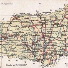 Postales: MAPA DE LA PROVINCIA DE LEON. ED. ALBERTO MARTIN BARCELONA. POSTAL CROMOLITOGRAFICA SIN CIRCULAR. Lote 210036412