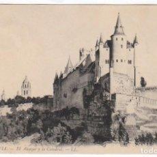Postales: PRECIOSA POSTAL. EL ALCÁZAR Y LA CATEDRAL, SEGOVIA. LL DORSO VERDE DIVIDIDO CIRCULADA 1920 PT. Lote 214973991