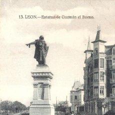 Postales: LEON 13 ESTATUA DE GUZMAN EL BUENO SIN CIRCULAR. Lote 221441172