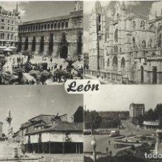Postales: LEÓN. 523. JARDINES DE SAN MARCELO. CATEDRAL. MERCADO. GUZMÁN BUENO. ARTIGOT. 10X15 CM. BUEN ESTADO.. Lote 228929325