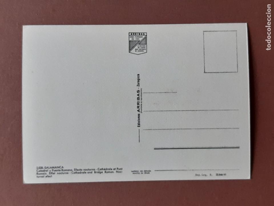 Postales: POSTAL 2028 ARRIBAS. CATEDRAL. PUENTE ROMANO. NOCTURNO. SALAMANCA. 1963. SIN CIRCULAR. - Foto 3 - 230406370