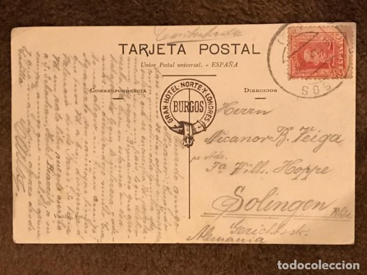 Postales: POSTAL CIRCULADA DE LA CATEDRAL DE BURGOS - AÑO 1928 - Foto 2 - 233029460