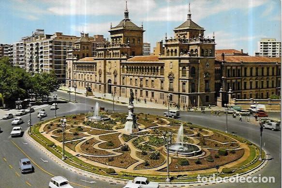 POSTAL * VALLADOLID , PL. ZORRILLA Y ACADEMIA DE CABALLERIA * 1970 (Postales - España - Castilla y León Moderna (desde 1940))