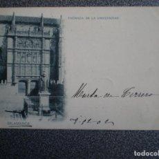 Postales: CASTILLA L SALAMANCA HAUSER 183 FACHADA DE UNIVERSIDAD POSTAL AÑO 1902. Lote 240730365