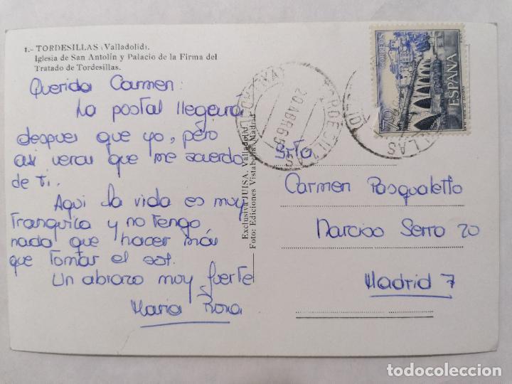 Postales: POSTAL TORDESILLAS, VALLADOLID, IGLESIA DE SAN ANTOLIN Y PALACIO, AÑO 1965 - Foto 2 - 244467550