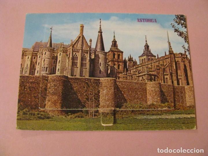 POSTAL DE ASTORGA, PALACIO GAUDI. CON COMPARTIMIENTO CON IMAGENES. ED. PARIS. (Postales - España - Castilla y León Moderna (desde 1940))