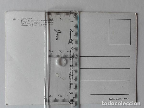 Postales: Astorga (León) nº. 436, Plaza de España y Ayuntamiento. Ediciones París. - Foto 2 - 251593005