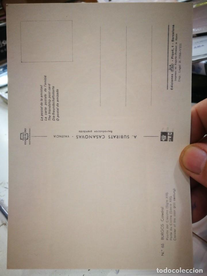 Postales: Postal BURGOS Catedral Puerta del Claustro siglo XIII N 65 SUBIRATS CASANOVAS S/C - Foto 2 - 253686500
