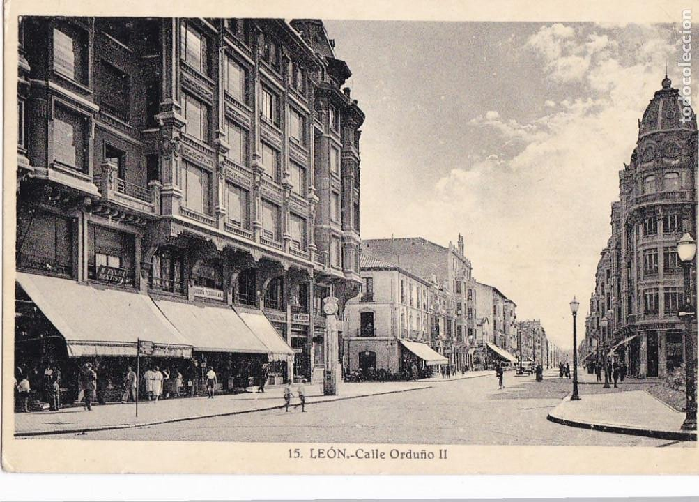 LEON, CALLE ORDOÑO II. ED. FOTO ROISIN Nº 15. CIRCULADA (Postales - España - Castilla y León Antigua (hasta 1939))